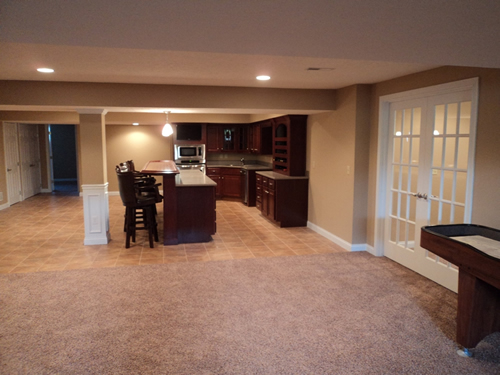 Completed Custom Basement with Kitchen